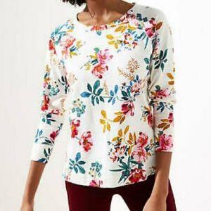 LOFT Plus Floral Light Weight Sweatshirt Size 14 New